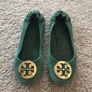 Tory Burch Green Suede Reve Flats